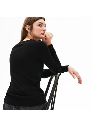 Lacoste Kadın Bisiklet Yaka Triko AF8728.031 Siyah